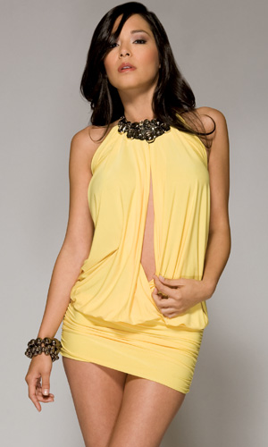 tie around the neck with deep plunging front summer dress